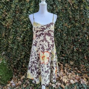 HD in Paris Anthropologie brown floral silk dress